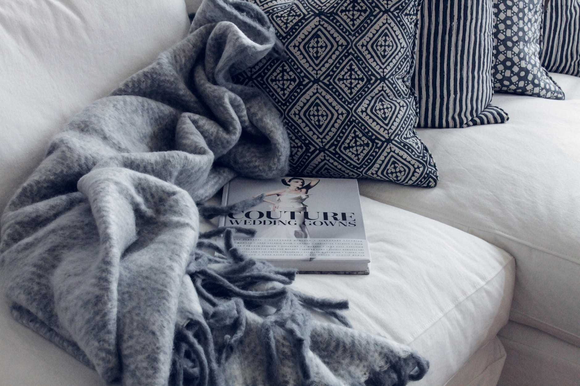 couture book on sofa